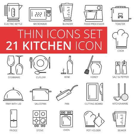 pot holder: Thin Kitchen icon set. Illustration