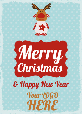 christmas postcard: Happy New Year and Merry Christmas postcard. Flat design.
