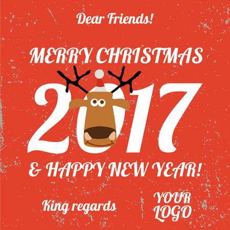 postcard design: Happy New Year postcard. Flat design.