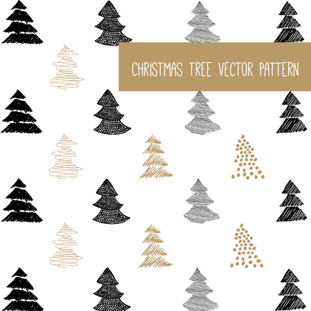 christmas concept: New Year and Merry Christmas pattern. Gold, white, black design. Vector illustrations. Hand draw concept.