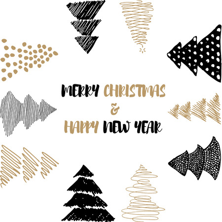 christmas concept: New Year and Merry Christmas postcard. Gold, white, black design. Vector illustrations. Hand draw concept. Illustration