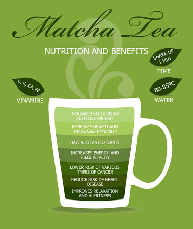 thé Matcha, le concept infographique. Vecteurs