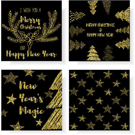 postcard design: New Year and Merry Christmas postcard Set. Hand draw concept. Gold glitter design.