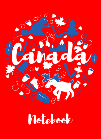 Canada Landmark Travel and Journey Infographic Vector Design. Canada country design template. Template for souvenir Greeting Card, cup, t-shirt, notebook. Illustration