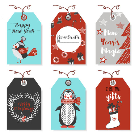 christmas wishes: Christmas animals bear, squirrel, rabbit, owl, bird, rooster, penguin, fox. New Year and Christmas cards. Stylish tags with Christmas wishes. Set Christmas elements for design. Lettering. Illustration