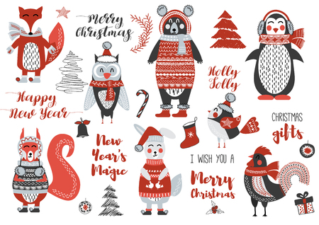 dcor: Christmas woodland Animals Cute Forest. Bear, squirrel, rabbit, owl, bird, rooster, penguin, fox. New Year and Christmas cards. Stylish set Christmas elements for design. Lettering. Tree. Gifts.