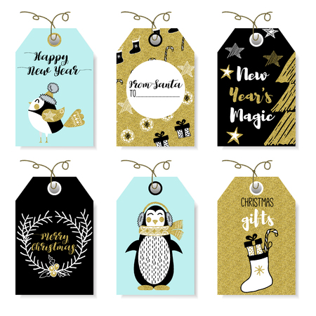 year of the rabbit: Christmas animals bear, squirrel, rabbit, owl, bird, rooster, penguin, fox. New Year and Christmas cards. Stylish tags with Christmas wishes. Set Christmas elements for design. Lettering. Gold glitter