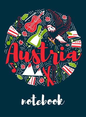 Austria Landmark Travel and Journey Infographic Vector Design. Austria country design template. Template for souvenir Greeting Card, cup, t-shirt, notebook.