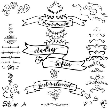 Hand drawn pencil border, frames, ribbon  Sketch design concept