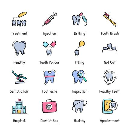 Dental Care Hand Drawn Icons - Doodle