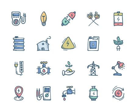 Energy and Power Related Flat hand drawn icons - Doodle Stock Vector - 131684813