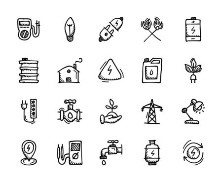 Energy and Power Hand Drawn Icons - Doodle