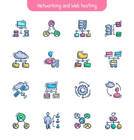 Communication, Networking and Web hosting Hand Drawn Icons