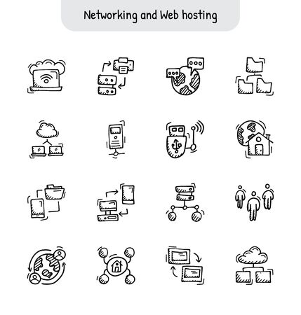 Networking and Web hosting hand drawn icons - Doodle