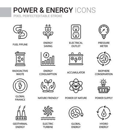 Power & Energy Thin line icons, Editable Stroke