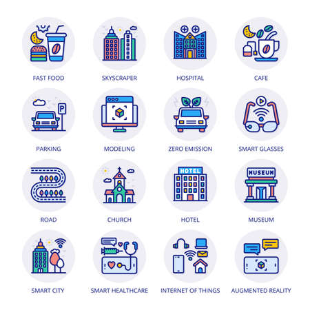Smart City Filled Circle Icons - Stroked, Vectors Vektorgrafik