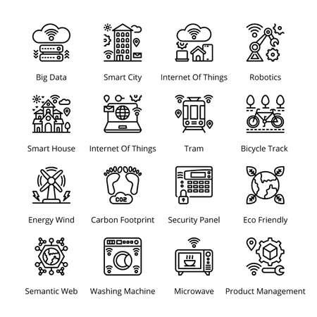 Smart City Outline Icons - Stroked, Vectors Vektorgrafik
