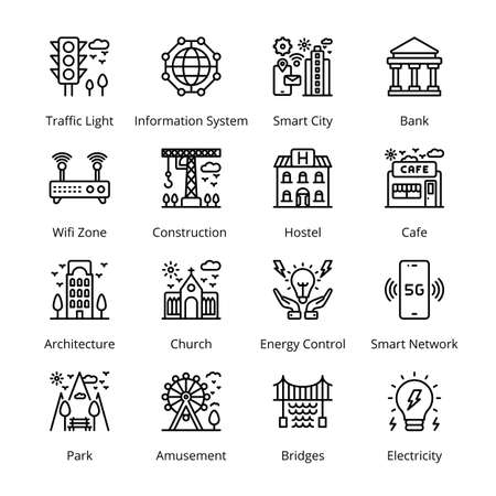 Smart City Outline Icons - Stroked, Vectors