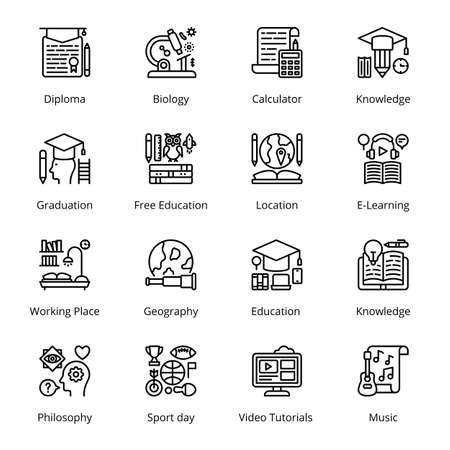 Back to School Outline Icons - Stroked, Vectors