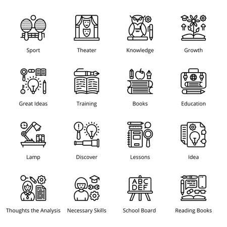 Back to School Outline Icons - Stroked, Vectors Vektorgrafik