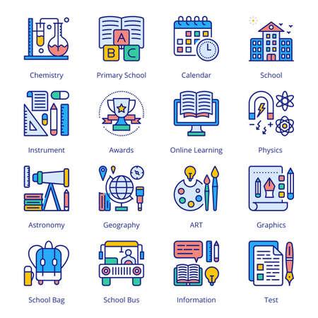 Back to School Filled Icons - Stroked, Vectors Vektorgrafik