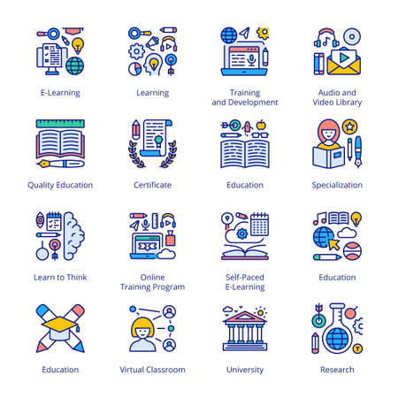 Back to School Filled Icons - Stroked, Vectors