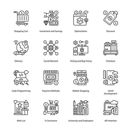 E-Commerce Outline Icons - Stroked, Vectors