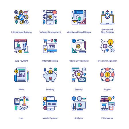 E-Commerce Filled Icons - Stroked, Vectors Vektorgrafik