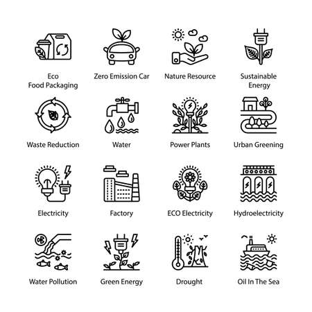 ECO and Bio Technology Outline Icons - Stroked, Vectors Vektorgrafik