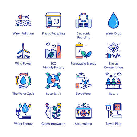 ECO and Bio Technology Filled Icons - Stroked, Vectors Vektorgrafik