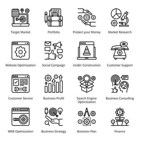 SEO Business Marketing Outline Icons - Stroked, Vectors