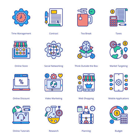 SEO Business Marketing Filled Icons - Stroked, Vectors Vektorgrafik