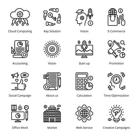 SEO Business Marketing Outline Icons - Stroked, Vectors Vektorgrafik