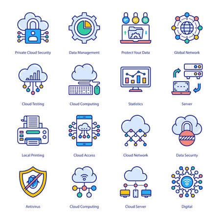 Cloud Computing Network Filled Icons - Stroked, Vectors