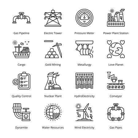 Industry and Services Outline Icons - Stroked, Vectors Vektorgrafik