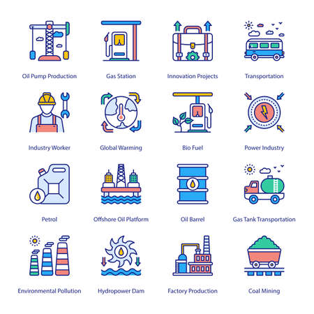 Industry and Services Filled Icons - Stroked, Vectors Vektorgrafik