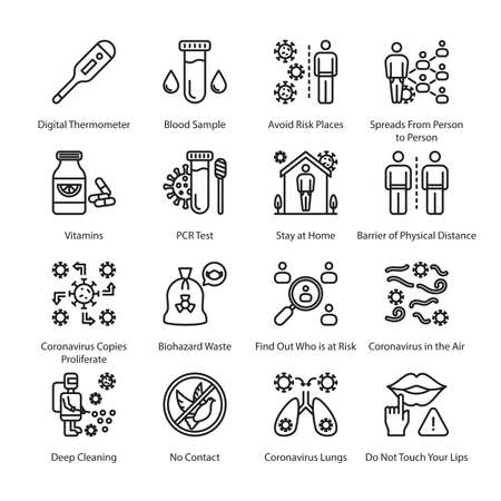 COVID Protection Measures Outline Icons - Stroked, Vectors