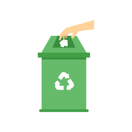 Recycle bin icon vector isolated on white background for your web and mobile app design, Recycle bin logo concept Vettoriali