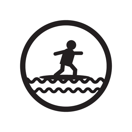 Surfing sign icon vector isolated on white background for your web and mobile app design, Surfing sign logo concept