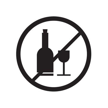No drinking icon vector isolated on white background for your web and mobile app design, No drinking logo concept Stock Illustratie