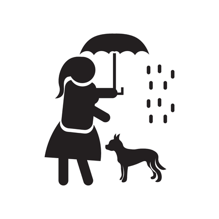 Woman covering her pet with an umbrella icon vector isolated on white background for your web and mobile app design, Woman covering her pet with an umbrella logo concept