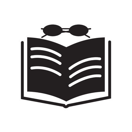 Book and glasses icon vector isolated on white background for your web and mobile app design, Book and glasses logo concept