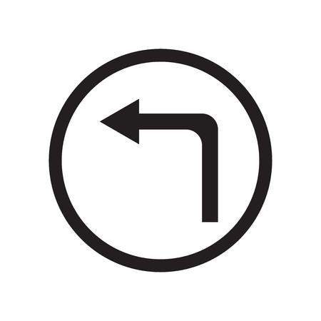 ウェブおよびモバイルアプリのデザイン、左折ロゴコンセプトのための白い背景に分離された左折アイコンベクトル
