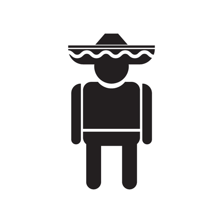 Mexican man icon vector isolated on white background for your web and mobile app design, Mexican man logo concept
