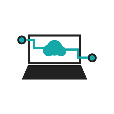 Laptop with cloud data symbol on screen icon vector isolated on white background for your web and mobile app design, Laptop with cloud data symbol on screen logo concept Stock Illustratie