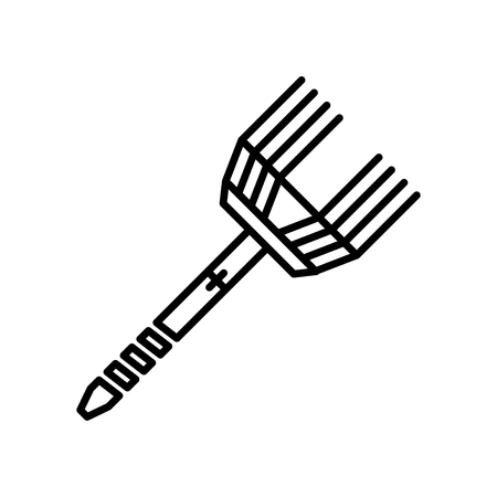 Rake icon vector isolated on white background for your web and mobile app design, Rake logo concept Çizim