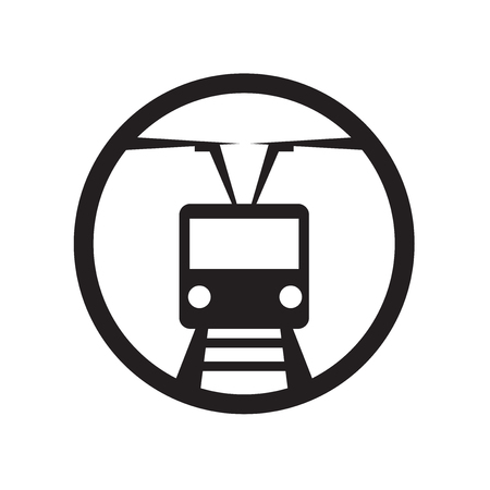 Tram stop icon vector isolated on white background for your web and mobile app design, Tram stop logo concept Illusztráció
