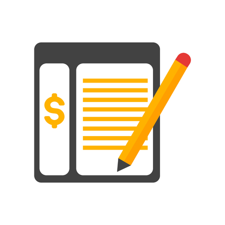 Ledger-Symbolvektor lokalisiert auf weißem Hintergrund für Ihr Web- und mobile App-Design, Ledger-Logo-Konzept
