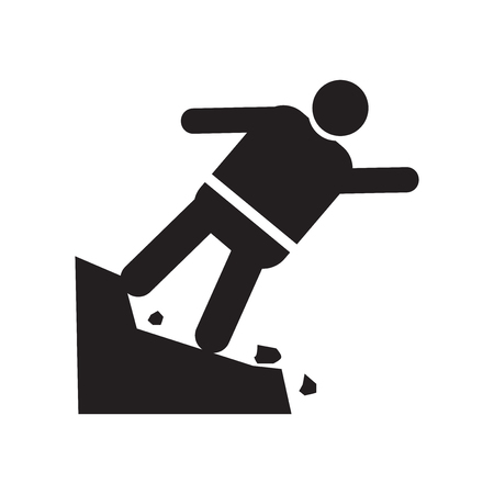 Man Falling Off a Precipice icon vector isolated on white background for your web and mobile app design, Man Falling Off a Precipice logo concept Foto de archivo - 106923281