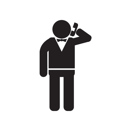 Elegant man talking through phone icon vector isolated on white background for your web and mobile app design, Elegant man talking through phone logo concept